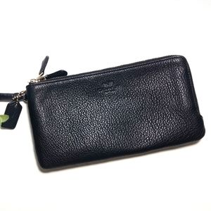 Coach Double Zipper Wristlet Black